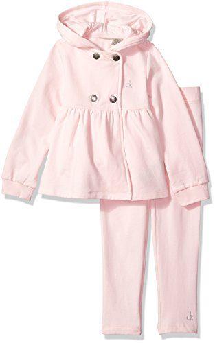 Calvin Klein Little Girls' Fleece Buttons Front Jacket with Pants Set, Pink, 6X