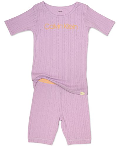 Calvin Klein Big Girls' 2 Piece Sleepwear Sleeve Short Set, Orchid Bloom, 12
