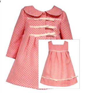 Bonnie Jean Little Girls Coral Coat Dress 6