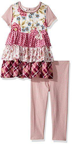 Bonnie Jean Little Girls' Toddler Fashion Legging Set, Floral Ruffles, 4