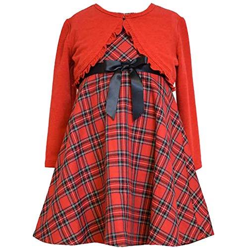 Bonnie Jean Little Girls 2T-6X Red/Black Tartan Plaid Dress/Cardigan Sweater Set, Red, 4T