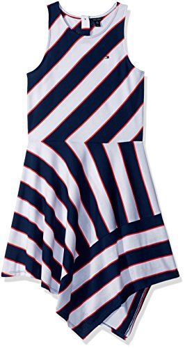 Tommy Hilfiger Big Girls' Stripe Dress, Medium Navy, Large