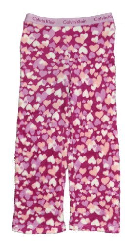 Calvin Klein Big Girls' Ck Plush Heart Pajama Pant, 99-Assorted, Small 7/8