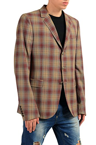 e0b6a1908 Home Shop Men Clothing Jackets & Coats Gucci Men's 100% Wool Plaid Three  Button Blazer Sport Coat Size US 44 IT 54