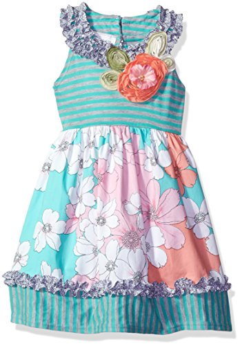 Bonnie Jean Toddler Girls' Stripe Knit to Printed Cotton Skirt, Aqua, 3T