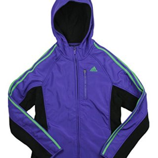 adidas Big Girl's Full Zip Polar Fleece with Hoodie (Medium (10/12), Blast Purple)
