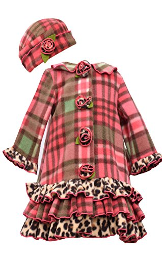 Little Girls Coral Plaid Tier Ruffle Border Fleece Coat/Hat Set -Bonnie Jean, Coral, 6