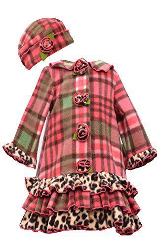 Little Girls Coral Plaid Tier Ruffle Border Fleece Coat/Hat Set -Bonnie Jean, Coral, 6