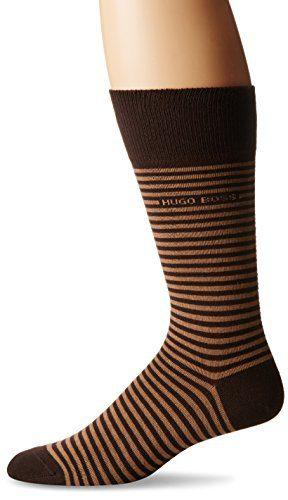 HUGO BOSS Men's Brian Striped Crew Sock, Brown, 7-13/Shoe Size 6-12