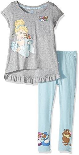 Disney Toddler Girls' Cinderella 2-Piece Set Tee and Leggings, Heather Grey/Light Blue, 2T