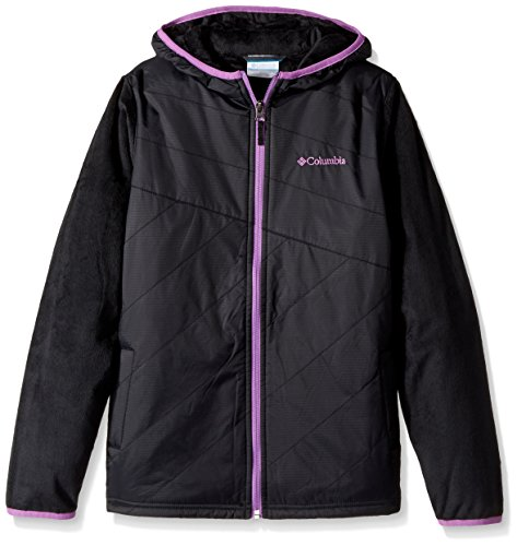 Columbia Big Girls' Pearl Plush II Hybrid Hoodie, Black, Large
