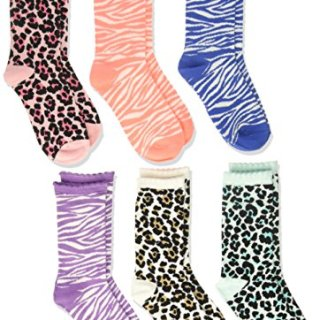 The Children's Place Toddler Girls' Crew Socks (Pack of 6), Leopard, L 3-6