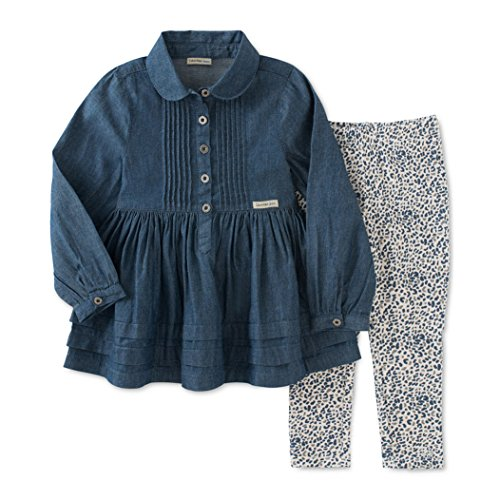 Calvin Klein Little Girls' Denim with Buttons Tunic and Leggings Set, Blue, 4