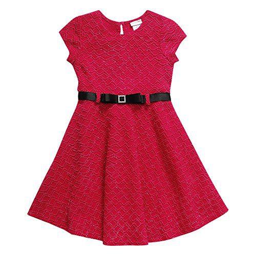 Sweet Heart Rose Little Girls' Belted Jacquard Fashion Dress