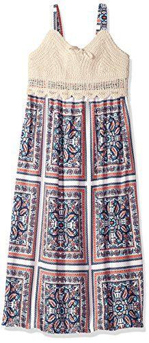 Bonnie Jean Big Girls' Sleeveless Maxi Length Dress, Patchwork Crochet, 16