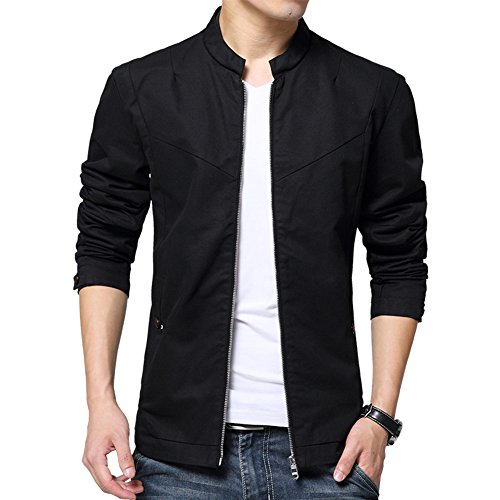 Womleys Men's Casual Stand Collar Cotton Jacket Coat Outerwear (Asian 4XL (US X-Large), Black)