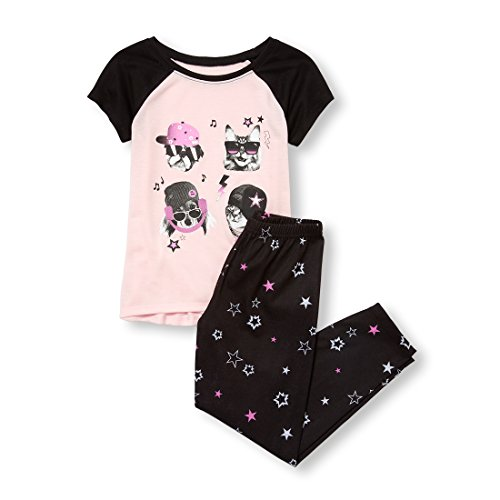 The Children's Place Big Girls' Short Sleeve Graphic Pajama Set, Baby Pink, L (10/12)