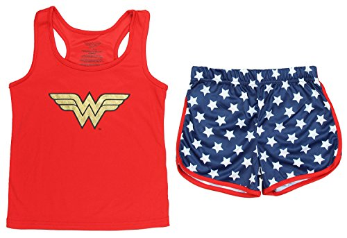 Wonder Woman Big Girls Sporty Mesh Pajama Short Set, Red, 7/8