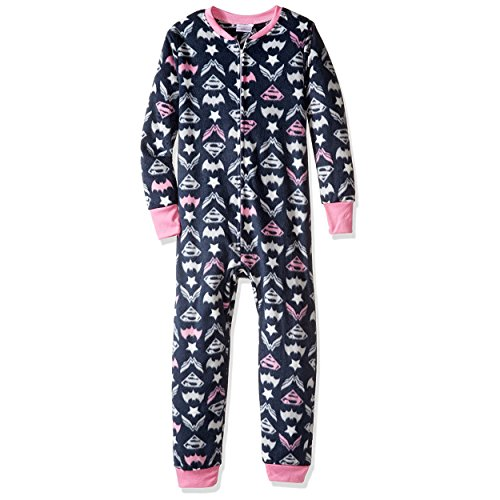 DC Comics Big Girls' Hero Union Suit Mink Fleece, Grey, 10/12