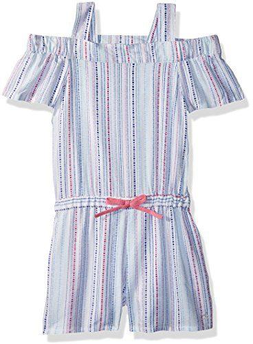 Calvin Klein Toddler Girls' Cold Shoulder Romper, White, 4T