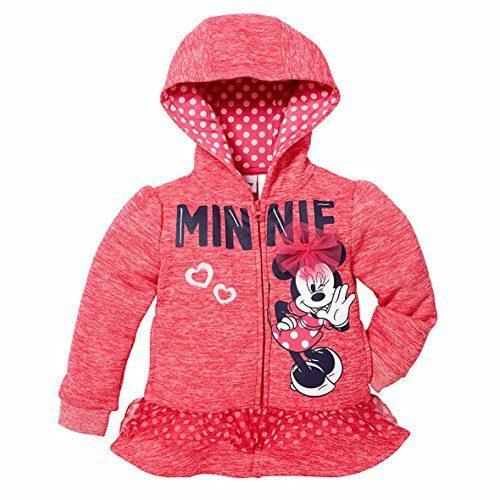 Disney Little Girls Zip-Up Fleece Hoodie (6X, Minnie Mouse)