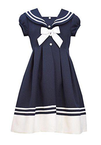 Bonnie Jean Big Girls' Navy Button Front Sailor Nautical Dress (7, Navy)