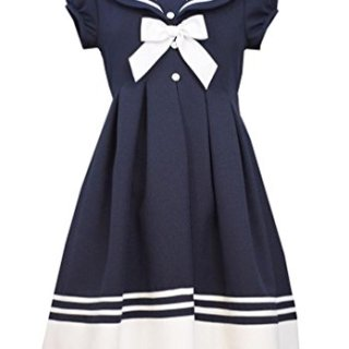 Bonnie Jean Big Girls' Navy Button Front Sailor Nautical Dress (7, Navy)