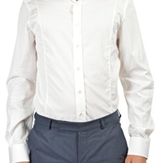 """Gucci """"Fitted"""" Men's White Long Sleeve Dress Shirt US 18.5 IT 47;"""
