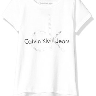 Calvin Klein Big Girls' CK Logo Tee, Hem White, Large (12/14)