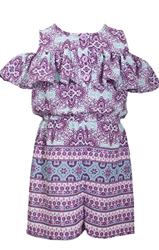 Bonnie Jean Girls Aqua and Purple One Piece Shorts Romper (2t-6x) (4)