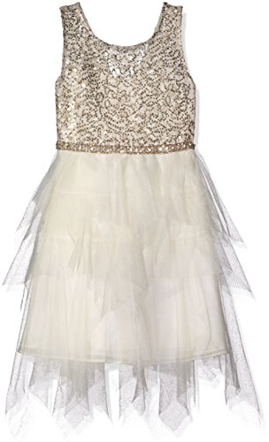 Tween Diva Big Girls' Lace Sequin Bodice to Mesh Dress, Taupe, 7