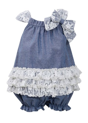 Bonnie Jean Girls Chambray Bubble & Lace Romper 3T