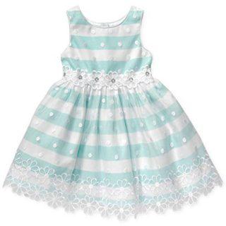 Sweet Heart Rose Little Girls' Sleeveless Organza Dress (5, Aqua)