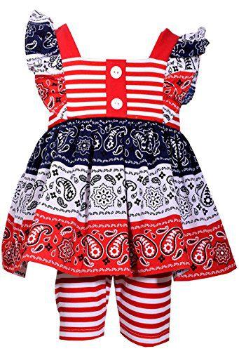 Bonnie Jean Girls American Patriotc 4th Of July Shorts Set (0m-6x) (6X)