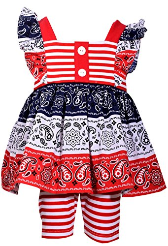 Bonnie Jean Girls American Patriotc 4th Of July Shorts Set (0m-6x) (6X)