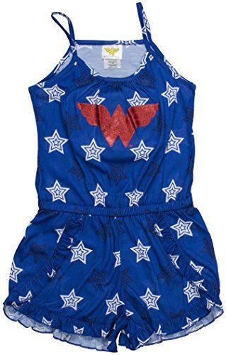 DC Comics Big Girls' Wonder Woman Logo Romper Pajama, Navy, 4/5