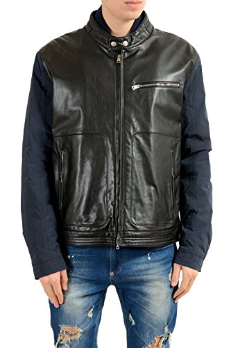 Gucci Men's Leather Two Tones Lightly Insulated Full Zip Jacket Size US 4XL IT 60