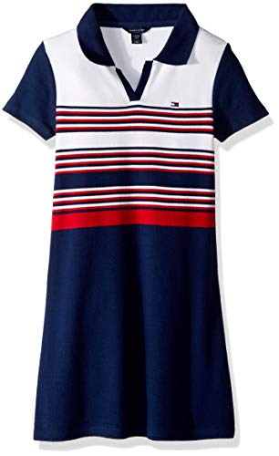 Tommy Hilfiger Big Girls' Pique Dress with Rib, Rib Flag Blue, Large 12/14