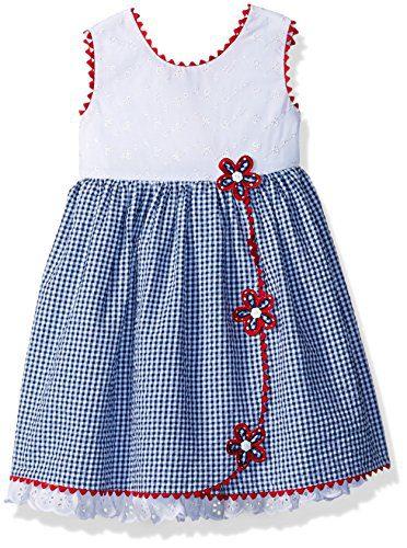 Bonnie Jean Toddler Girls' Americana Dress, Seersucker Flowers, 4T