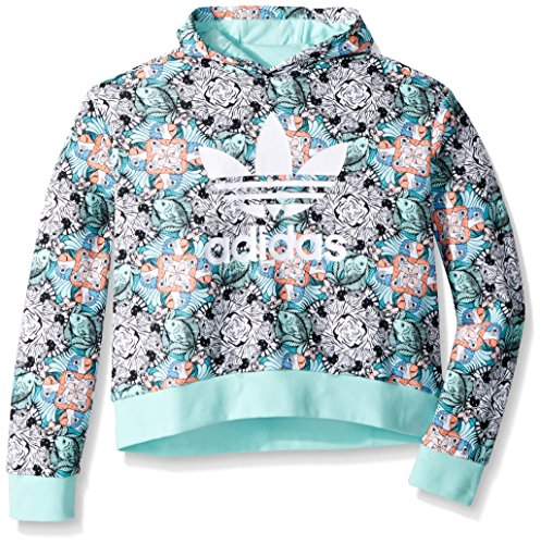 adidas Originals Big Girls' Zooanimal Print Hoodie, Multi/Clear Mint/White, M