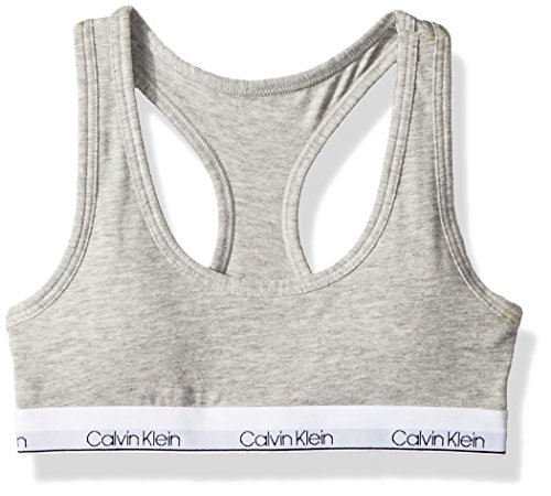 Calvin Klein Big Girls' Modern Cotton Molded Logo Bra, Heather Gray, XL (14/16)