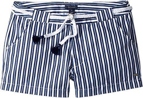 Tommy Hilfiger Kids Girl's Stripe Shorts With Novelty Belt (Little Kids/Big Kids) Flag Blue 8