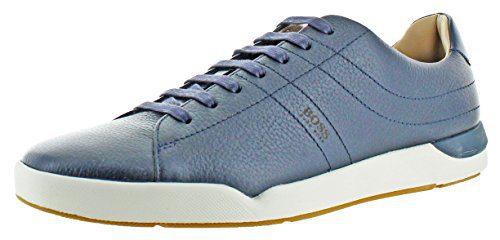 Hugo Boss Stillnes Men's Leather Sneakers Shoes Blue Size 12