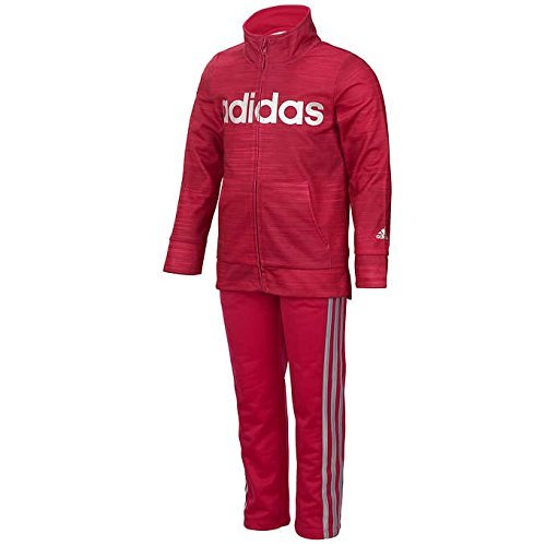 Adidas Girls' Tricot Jacket and Pant Set (Dark Pink, 4T)
