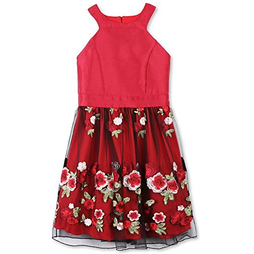 Speechless Big Girls' Party Dress with Embroidered Mesh Skirt, Wine Floral, 12