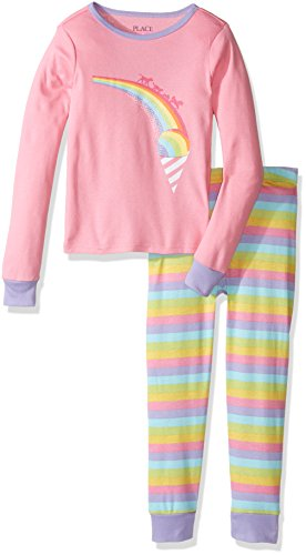 The Children's Place Big Girls' Long Sleeve Top and Pants Pajama Set, Rainbow Pink, 12