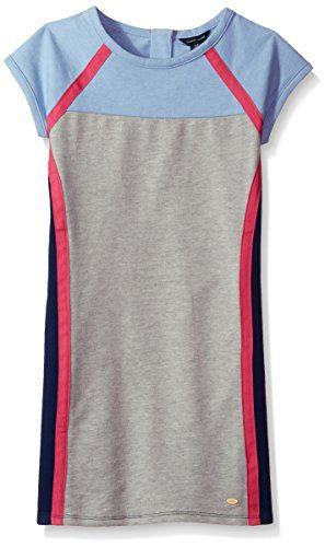 Tommy Hilfiger Big Girls' Colorblocked Dress, Heathered Rain, X-Large