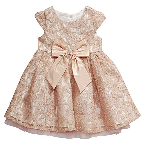 Sweet Heart Rose Little Girls' Cap Sleeve Lace Occasion Dress with Bow Detail, Blush, 2
