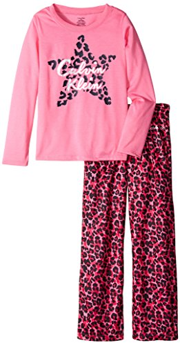 Calvin Klein Little Girls' Cheetah Star Crew Neck Sleep Set, Pink, 5/6