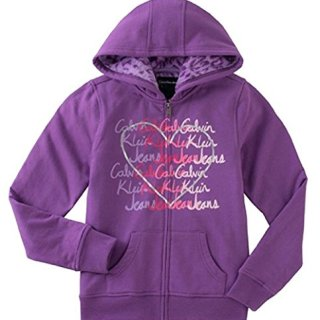 Calvin Klein Jeans Girls' Sherpa Lined Hoodie-Medium Violet-XSmall 5/6